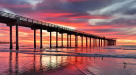 Mark Whitt Photography. A photo overlooking Scripps Pier in La Jolla, San Diego taken at Sunset.