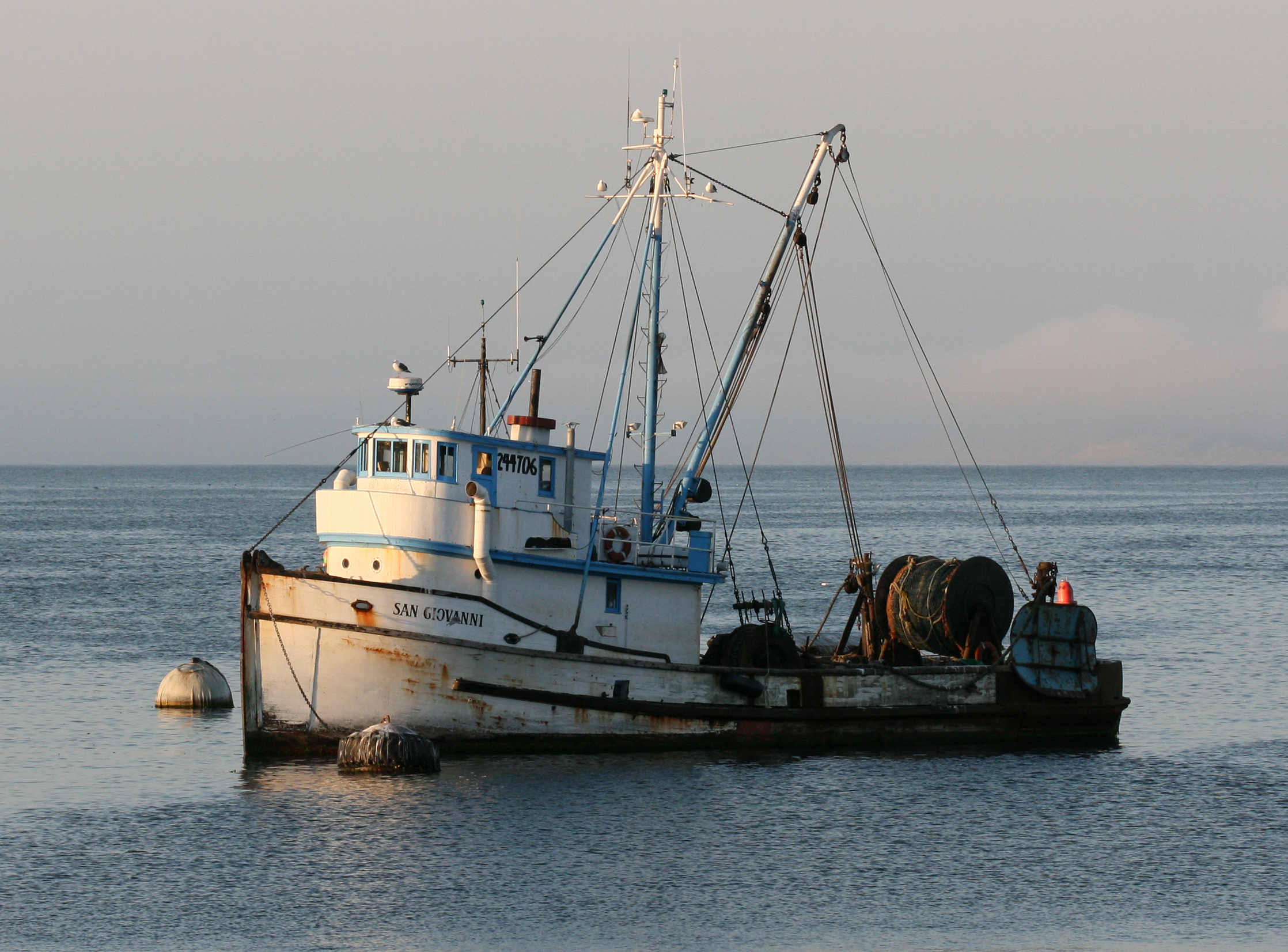 Fishing boat named San Giovanni on the ocean