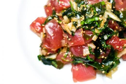 tuna poke with seaweed and sesame seeds