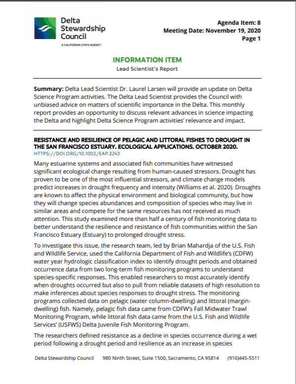 The November iteration of the Lead Scientist Report produced by State Fellow Byron Riggins.