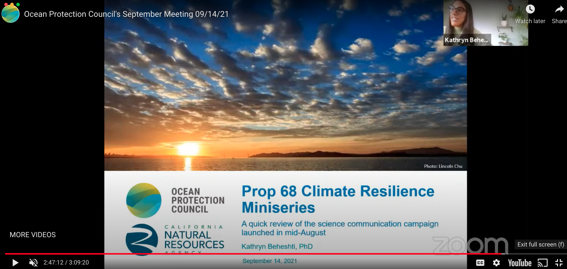 Most recently, Kat presented an informational agenda item at the September Council Meeting where she highlighted some of the science communication work she has been leading at OPC. The focus of this agenda item was the Prop 68 Climate Resilience Miniseries, which launched August 16th.