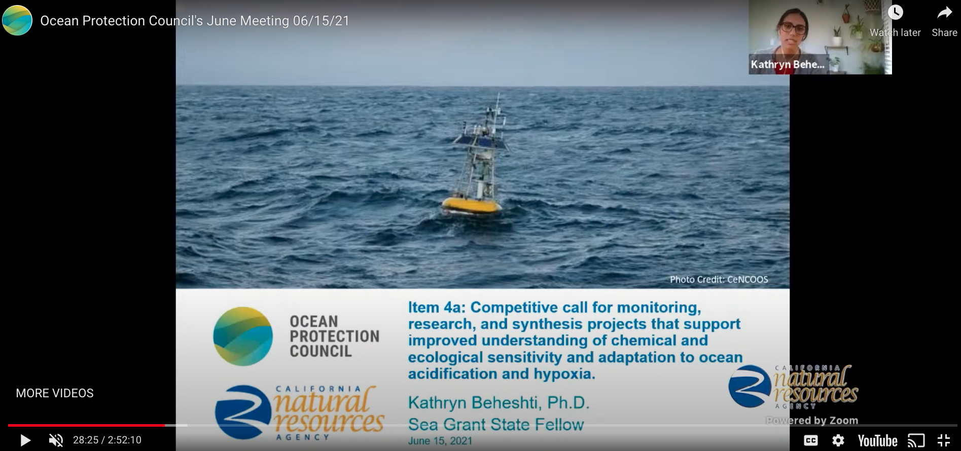 Kat presented at the June 2021 OPC Council Meeting a staff recommendation to disburse funds to CA Sea Grant to administer the solicitation for a Proposition 68 Ocean Acidification and Hypoxia Competitive Solicitation.