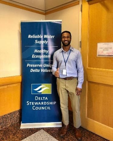 State Fellow Byron Riggins on his first fellowship day at the Delta Stewardship Council.