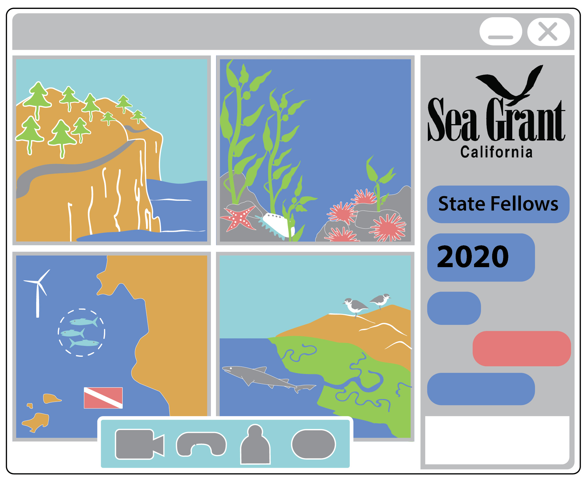 Graphic drawing of a zoom screen with coastal images in the windows