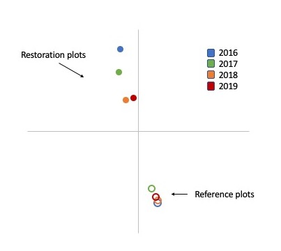 nMDS plot of restoration and reference plant communities.